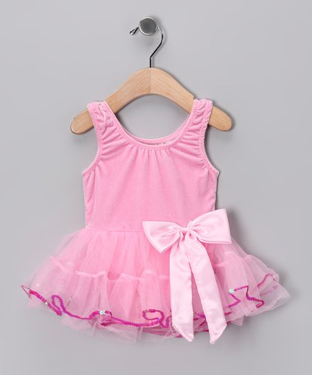 Pink Velvet Tutu Dress - Girls