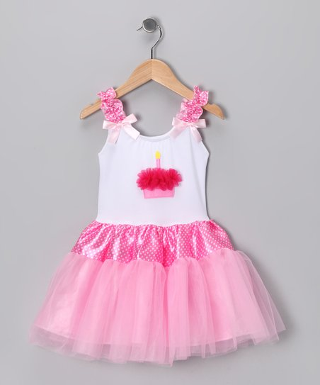 Pink Cupcake Appliqué Tutu Dress - Girls