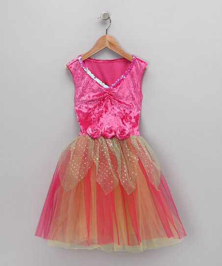 Fuchsia & Mint Velvet Sequin Dress - Toddler & Girls
