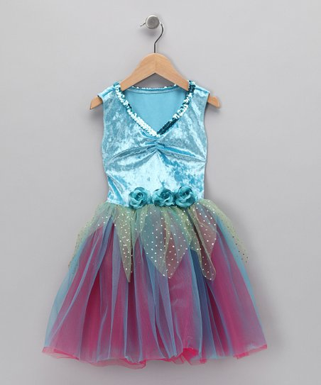 Turquoise & Fuchsia Velvet Sequin Dress - Toddler & Girls