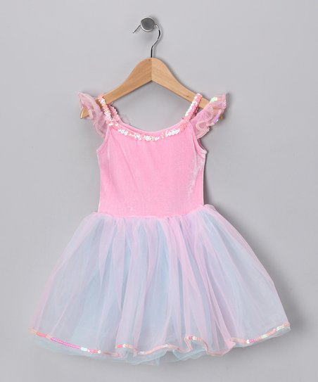 Pink & Turquoise Velvet Dress - Toddler & Girls