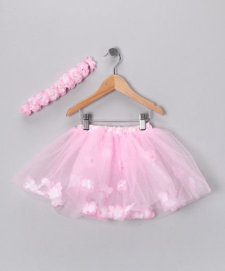 Pink Rose Tutu & Flower Headband - Toddler & Girls