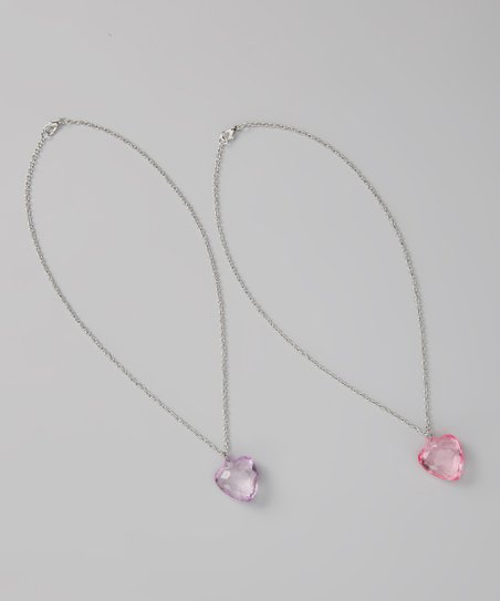 Light Purple & Pink Heart Charm Necklace Set