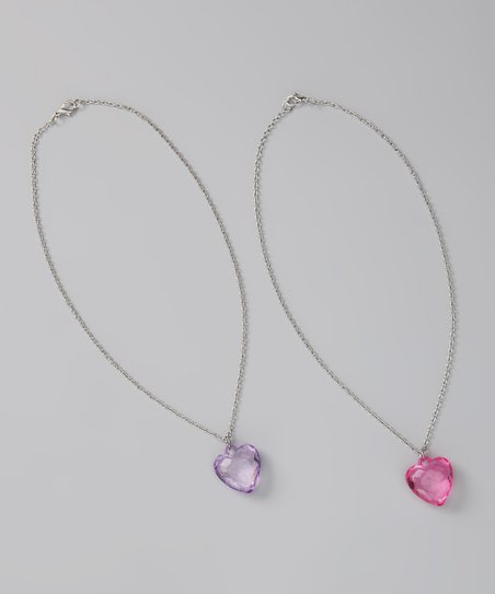 Fuchsia & Purple Heart Charm Necklace Set
