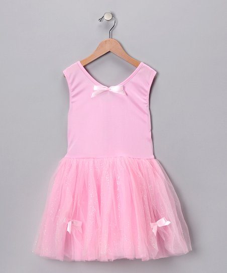 Pink Glitter Ribbon Dress - Toddler & Girls