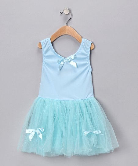 Turquoise Glitter Ribbon Dress - Toddler & Girls