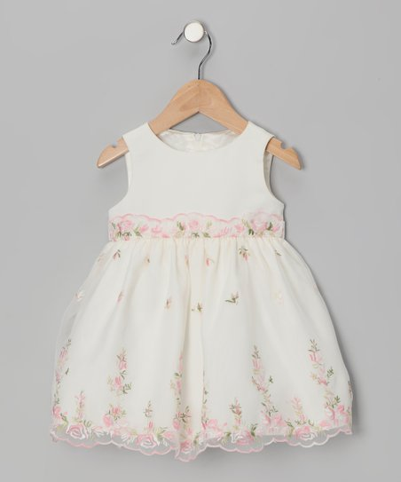 Ivory &amp; Pink Floral Overlay Dress - Infant &amp; Girls