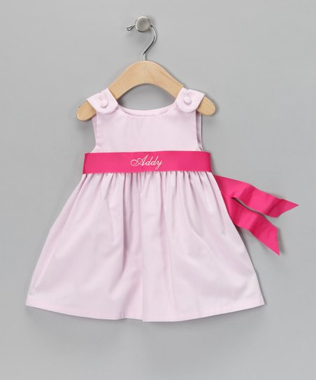 Baby Pink Personalized Sash Dress - Infant, Toddler & Girls
