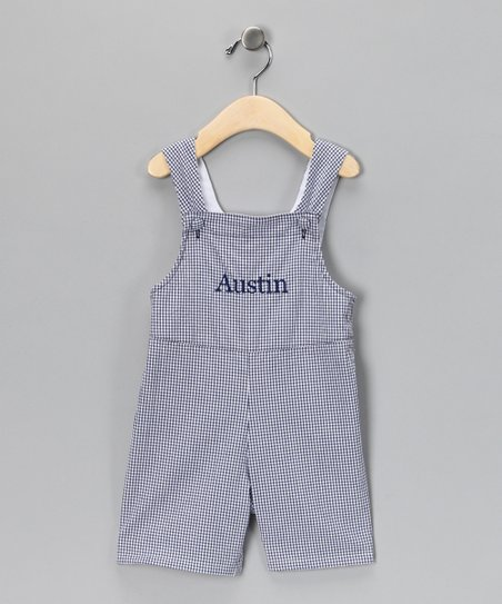 Navy Gingham Personalized Shortalls - Infant & Toddler