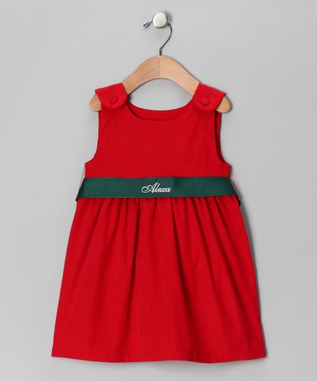 Red Corduroy Personalized Sash Dress - Infant, Toddler & Girls