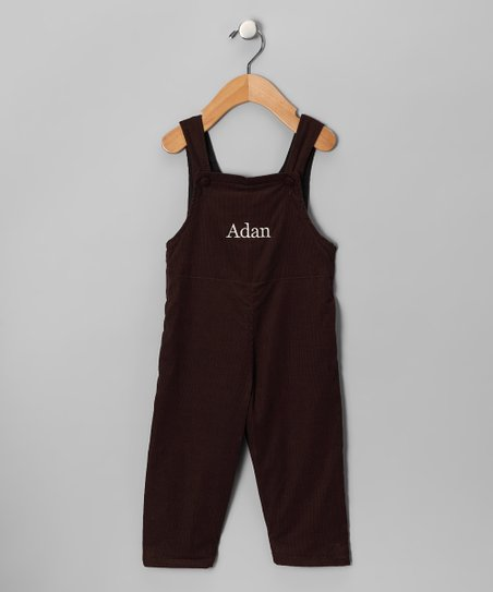 Brown & Cream Corduroy Personalized Overalls - Infant & Toddler