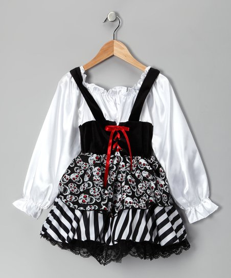 White &amp; Black Skull Pirate Dress &amp; Bandanna - Kids