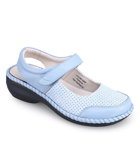Powder Blue Petunia Leather Mary Jane - Women