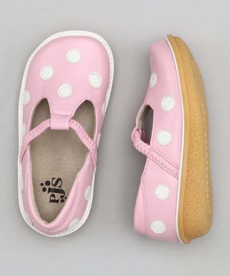 Light Pink & White Polka Dot T-Strap Shoe