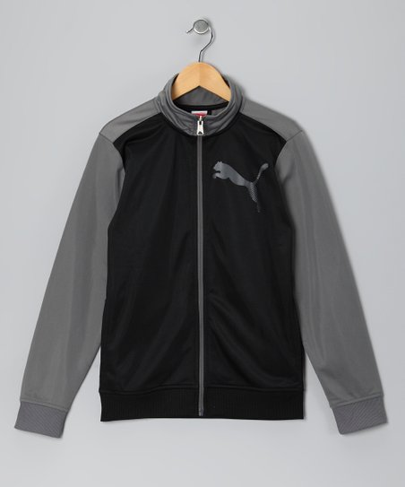 Black & Gray Tricot Zip-Up Jacket - Toddler & Boys
