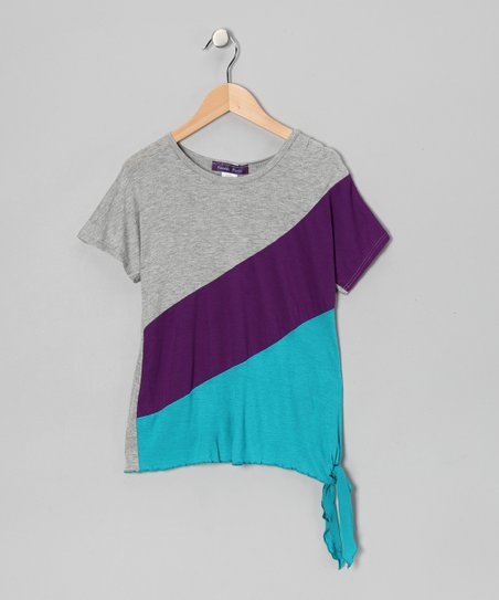 Gray & Purple Color Block Top - Girls