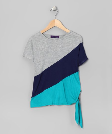 Gray & Teal Color Block Top - Girls
