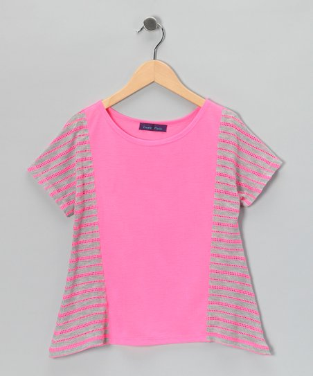 Pink Stripe Sidetail Top - Girls