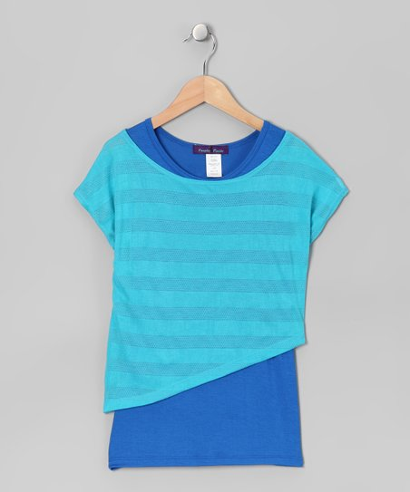 Teal & Royal Blue Stripe Layered Top - Girls