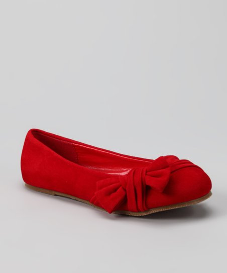 Red Suede Happy Flat