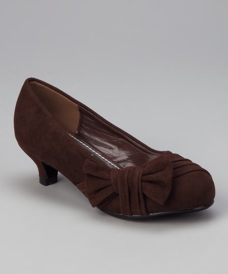 Brown Heart Kitten Heel