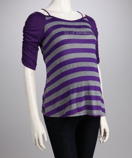 Purple Stripe 'I Heart Baby' Maternity Tee