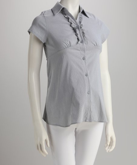 QT Gray Ruffle Maternity Button-Up