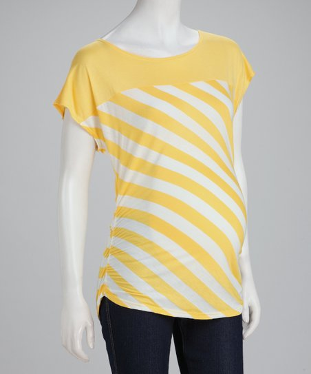 Yellow Stripe Maternity Top