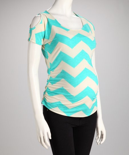 Aqua Chevron Maternity Cutout Top - Women