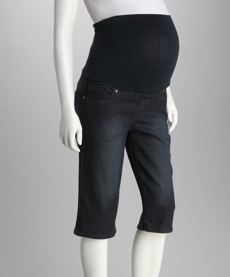 Dark Blue Over-Belly Maternity Bermuda Shorts