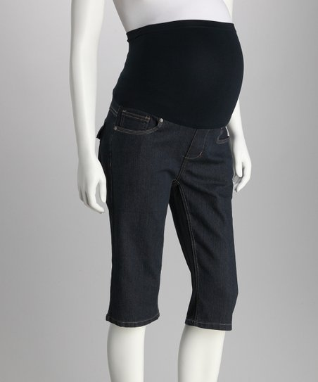 Medium Blue Over-Belly Maternity Bermuda Shorts
