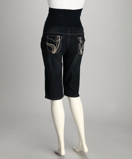 Dark Wash Denim Over-Belly Maternity Bermuda Shorts