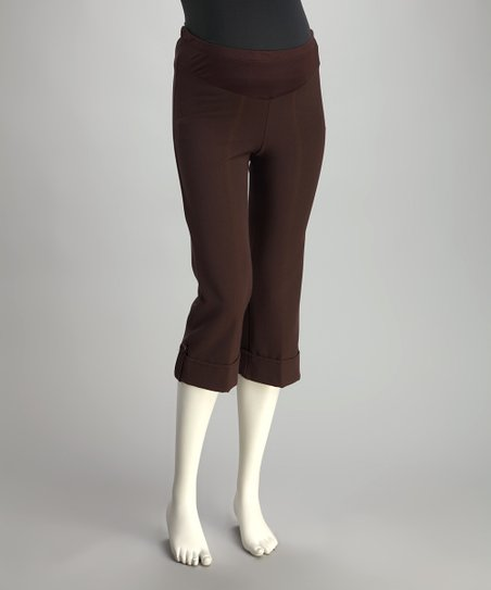 Brown Cuffed Maternity Capri Pants
