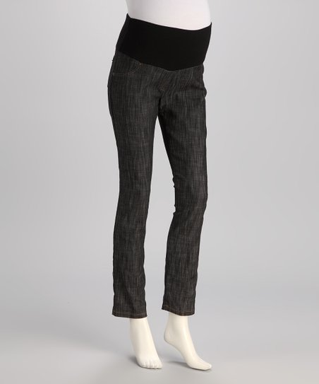 Black Brushed Mid-Belly Maternity Skinny Jeans - Women