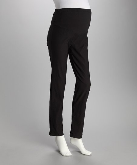 QT Black Mock-Pocket Over-Belly Maternity Pants