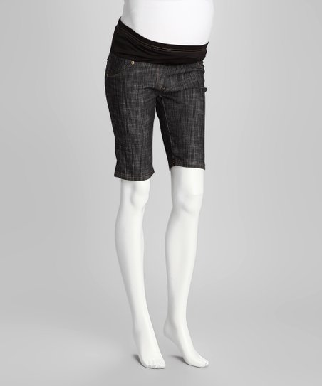QT Black Denim Maternity Bermuda Shorts