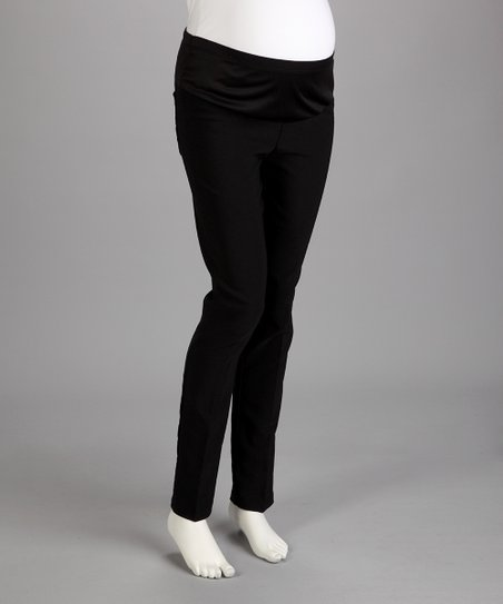 QT Black Under-Belly Maternity Straight-Leg Pants