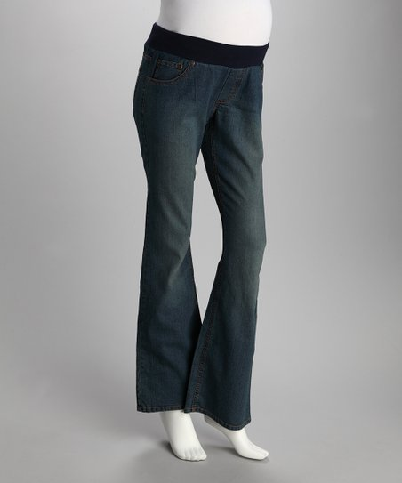 Medium Blue Curvy Pocket Under-Belly Maternity Jeans