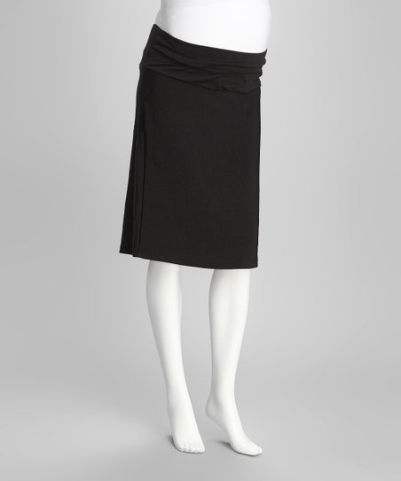 Black Mid-Belly Maternity Pencil Skirt - Women