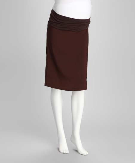 Brown Mid-Belly Maternity Pencil Skirt
