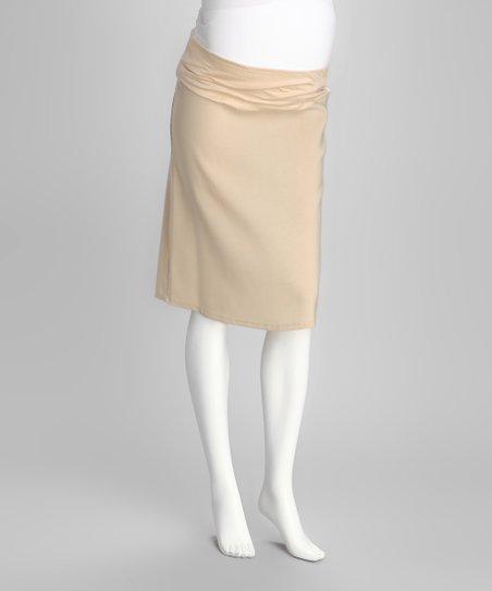 Khaki Mid-Belly Maternity Pencil Skirt