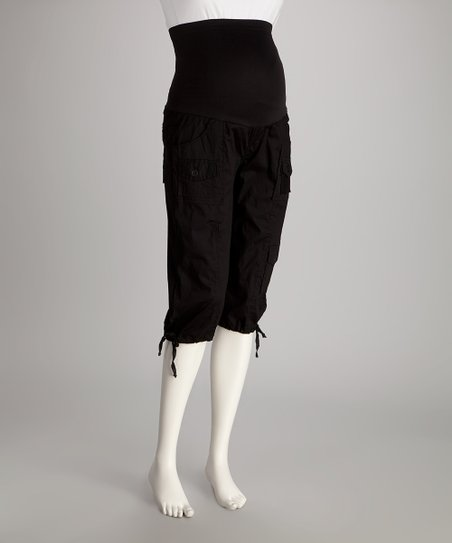 Black Over-Belly Maternity Capri Pants