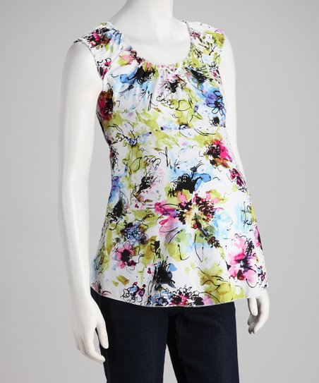Blue Floral Maternity Sleeveless Top - Women