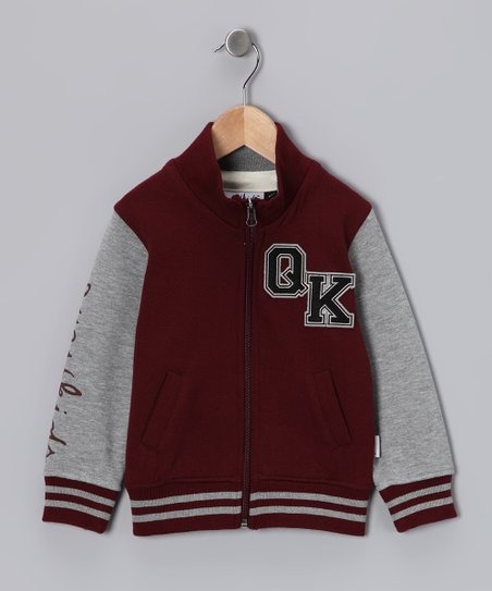 Maroon & White Varsity Knit Jacket - Toddler & Boys
