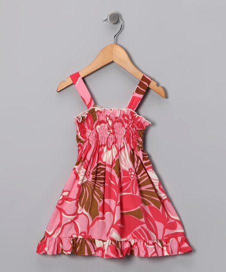 Pink & Brown Gathered Ruffle Dress - Infant & Toddler