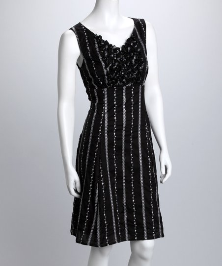 Black Stripe V-Neck Dress - Women