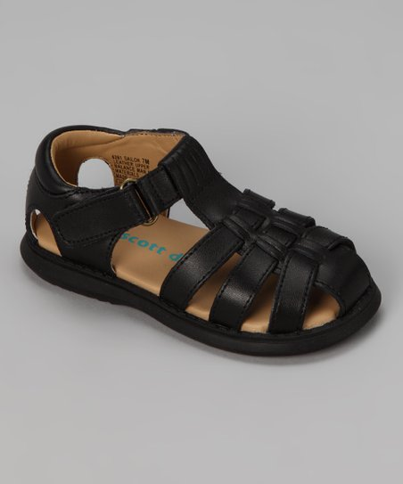 Black Sailor Leather Closed-Toe Sandal
