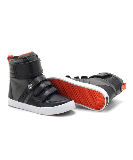 Black & Orange Top Kid Hi-Top Sneaker