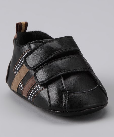 Rainbow Kids Black Stripe Double Strap Shoe