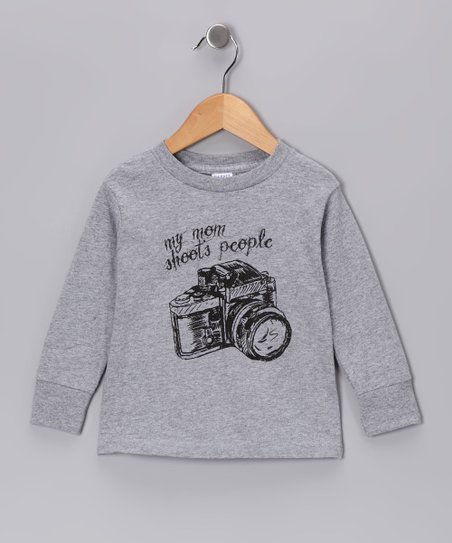 Gray 'My Mom Shoots People' Long-Sleeve Tee - Toddler & Boys